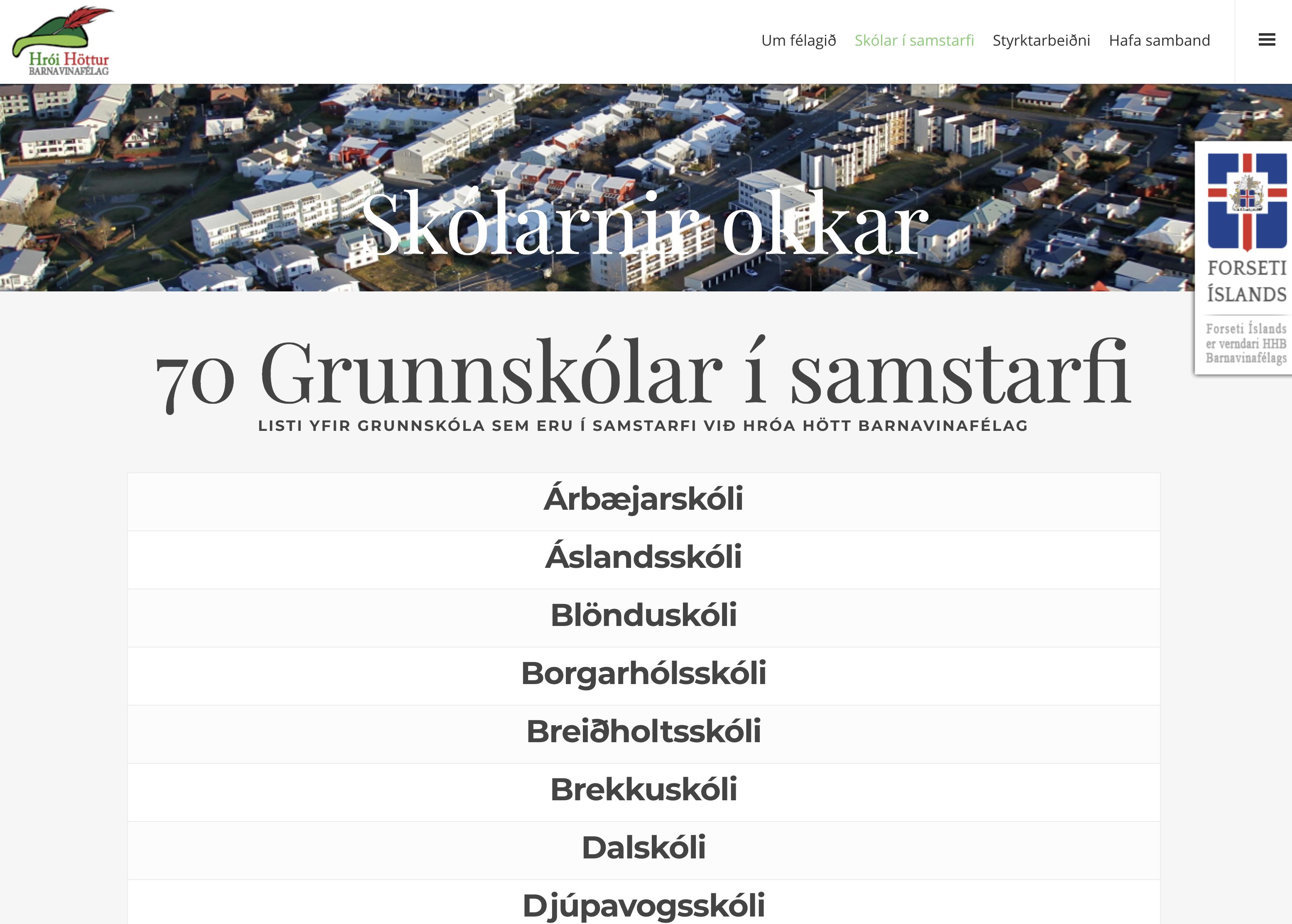 70 grunnskólar í samstarfi við Hróa Hött